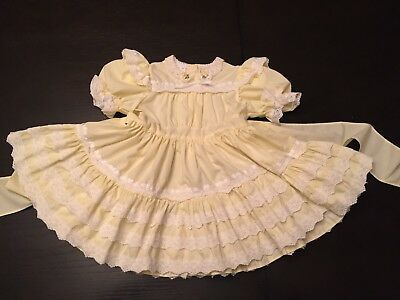 VTG Mini World Frilly Yellow Easter Party Dress Toddler Girl's Ruffles & Lace