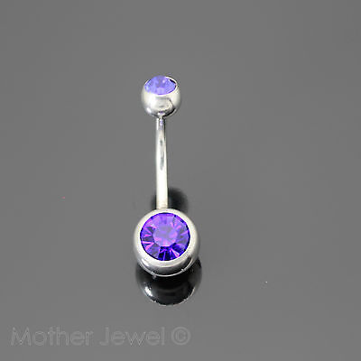 Royal Blue Cubic Zirconia Surgical Steel Belly Button Navel Bar Ring 14 Gauge