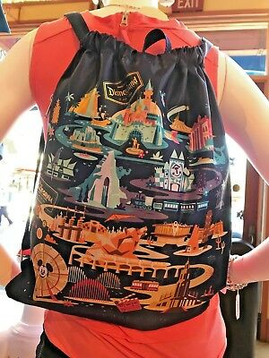 Disney Parks Disneyland Classic Attractions Cinch Sack Backpack w/ Zipper Pocket