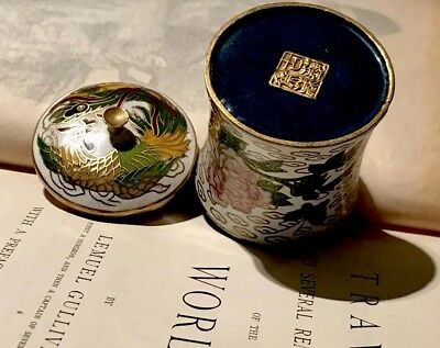 Pretty Little Lotus & Butterfly Enamelled Chinese Vessel, Stamped FreeUKP&P