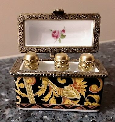 Porcelain Perfume Chest Box with 3 Glass Bottles with Brass tops Limoges??