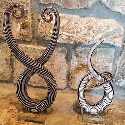2 Murano Ribbon Swirl Abstract Snake Flame Art Glass Sculpture Statues