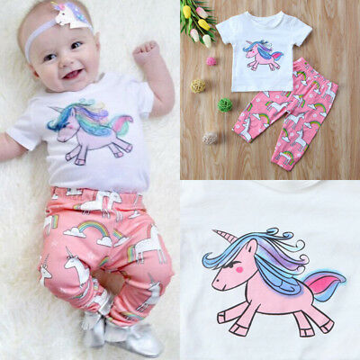 UK Stock Unicorn Newborn Baby Girls Outfit Tops Leggings Pants Headband Clothes