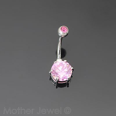 14G 9Mm Pink Cz Double Jewelled 316L Surgical Steel Belly Button Navel Ring