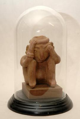 Vintage Pre-Columbian Museum Copy of Figure with Sleeping Disease & Glass Dome