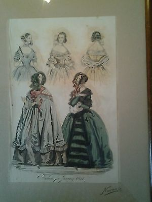 Original Color. Mode Litho Belfast 1841 -Fashions in January- Originalrahmen