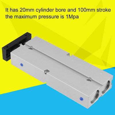 20mm Bore 100mm Double-rod Double-acting Aluminum Pneumatic Air Cylinder inm