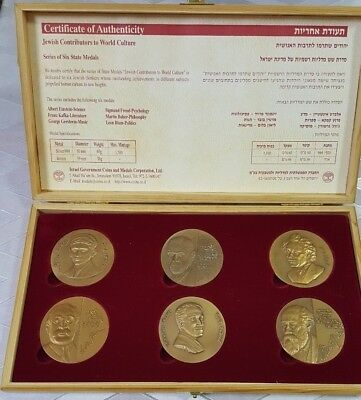 """Israel """"jewish Contributors To World Culture"""" Series Of 6 State Bronze Medals"""