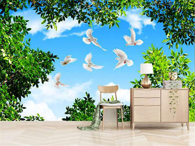 Azure Pulpy Doves 3D Full Wall Mural Photo Wallpaper Printing Home Kids Decor