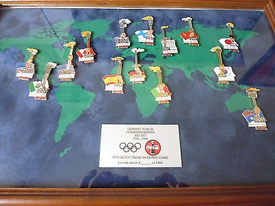 Seltener Coca Cola Olympic Torch Commemorativ Pin  Rahmen Limited Edtion