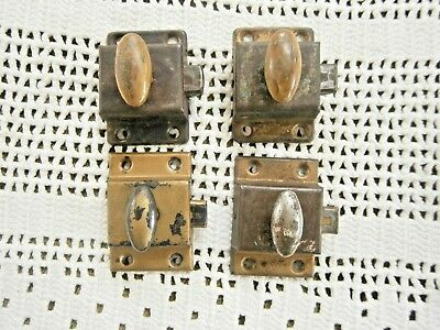 4 Vintage Metal Wood Door Cabinet Latches Lock Turn Knob Lock Spring Load 2 1/8""