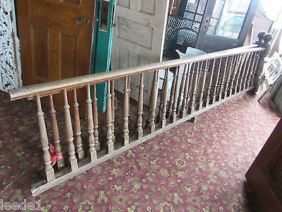 Yellow Pine Railing 11' Long Round Top Post 22 Balusters Architectural Salvage