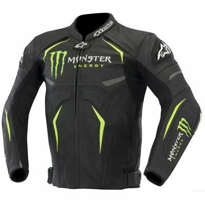 Monster Energy Motorcycle Motorbike-Leather-Racing-Jacket-(All-Sizes-Brand-New)