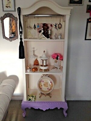 armoire French  wardrobe beautiful piece antique white violet scroll bargain