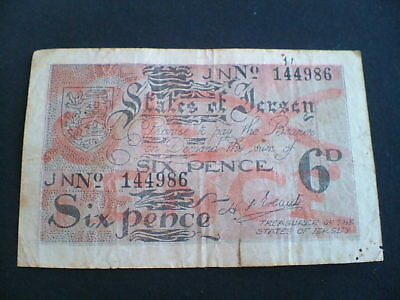 WW2 JERSEY CHANNEL ISLANDS GERMAN OCCUPATION  6d SIXPENCE  BANKNOTE
