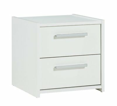 White High Gloss 2 Drawer Bedside Cabinet Bedside Table Night Stand Sywell