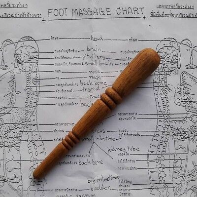 Wooden thai foot massage tool therapy relax wood stick traditional reflexology