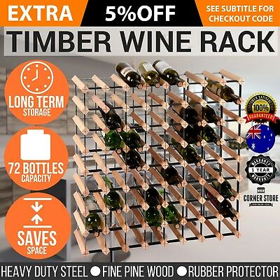 Wine Rack - 12, 20, 42, 72 or 110 Bottles, Wood & Steel