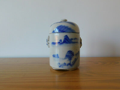 c.19th - Antique Vintage Chinese Blue and White Porcelain Tea Pot Jar