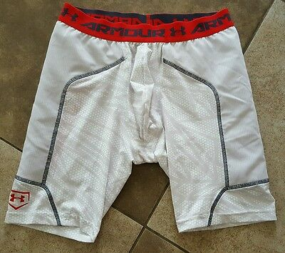 Boys youth sports UnderArmour Compression Slider Shorts with cup pocket large