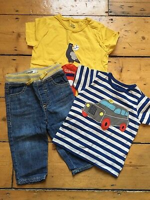 MINI BABY BODEN Striped Top Tshirt Jeans Yellow Navy Boys Taxi Car Bird London
