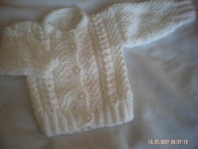 Hand Knitted Baby Girl's White Cardigan Size 0-3 Months.