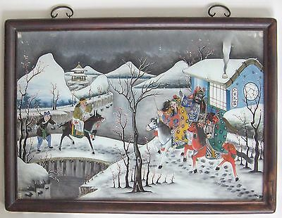 Fine 19th Century Chinese Reverse Painting on Glass, Army Figures, Framed, Large