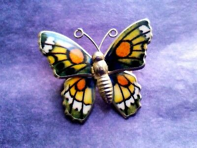 A Pretty Vintage Lucite Enamel Butterfly Multi Coloured Brooch Pin