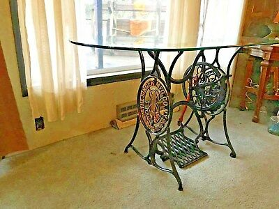 Rertored Antique 1879 Singer Treadle Sewing Machine Base With Glass Top