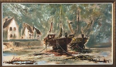 Hipwell, Vintage Old 20th C Harbour Scene Oil Painting, Signed