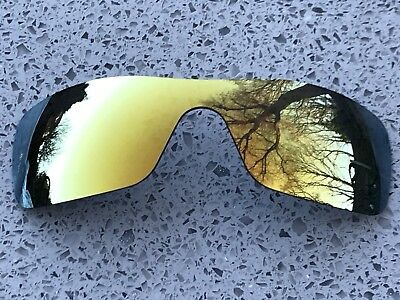 NEW 24k GOLD MIRRORED REPLACEMENT OAKLEY BATWOLF LENS & CARRY POUCH