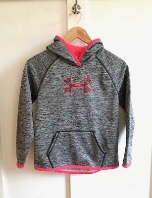 Girl's Under Armour Hoodie, Cold Gear. Gray and Hot Pink, Size Medium Loose Fit