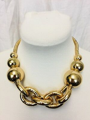 Vintage 70's Disco Necklace. Large Gold Balls With Articulated Flexible Links.