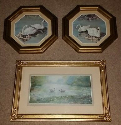 2 Octagon Home Interior Framed Swan Pictures From 70's & 1 Rectangle From 80's