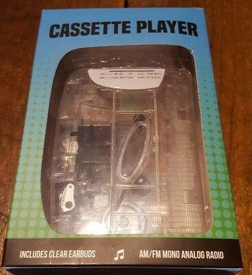 New Portable Cassette Player AM FM Radio  Music On The Go Walkman W/ Earbuds