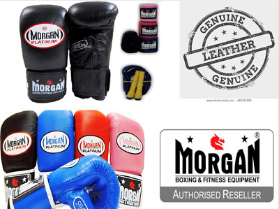 Morgan Leather Pro Boxing Gloves Sjump Rope Hand Wraps Wrist Guards Pack Set New
