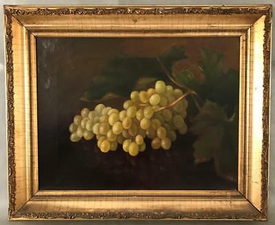 Edward Chalmers Leavitt 19thC Antique Oil Painting Canvas Grapes Still Life - RI