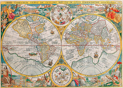 Double Hemisphere Map 1599 A2 High Quality Canvas Art Print