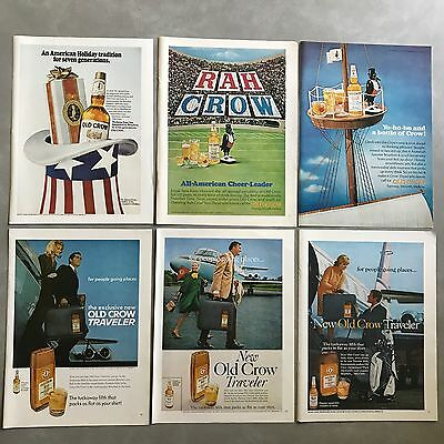 1966 to 1969 Old Crow Kentucky Bourbon Whiskey Print Ad Lot 9 Different