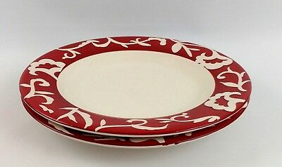 "Sandra by Sandra Lee Set of 2 Dinner Plates Red Cream Damask Stoneware 11""    #2"