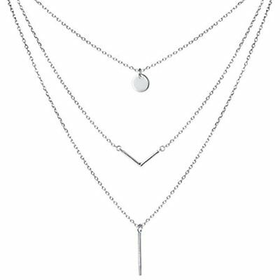 """S925 Sterling Silver Triple Layer Pendant Choker Necklace For Women 16""""+2"""