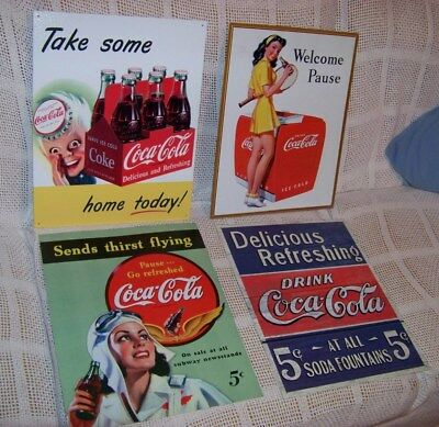 4 - replica vintage Coca-Cola signs    Made in USA