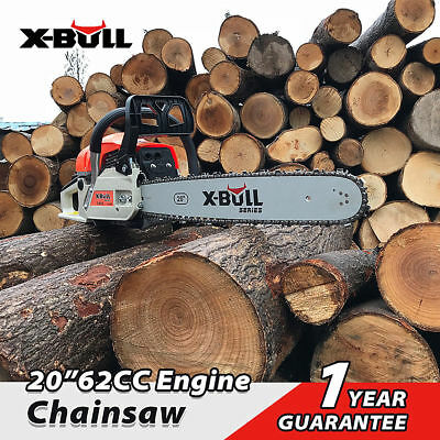 "X-BULL New Chainsaw 20"" Bar Petrol Commercial Chain Saw E-Start Pruning"