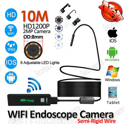 WIFI 8mm HD 1200P Endoscope Inspection Camera Tube for Android Iphone Kitchenaid