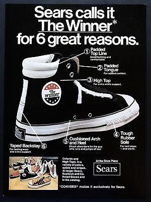 1973 Vintage Print Ad SEARS The Winner Athletic Shoe Image Foot Fashion