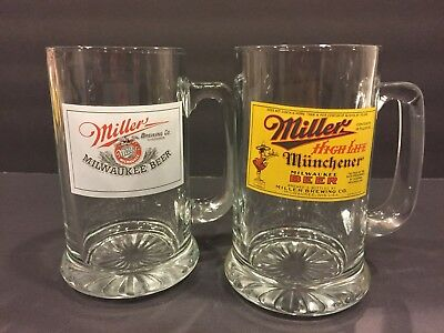 """Miller Brewing Co 5/"""" Beer Can Shaped Glass City Skyline Milwaukee Lite High Life"""