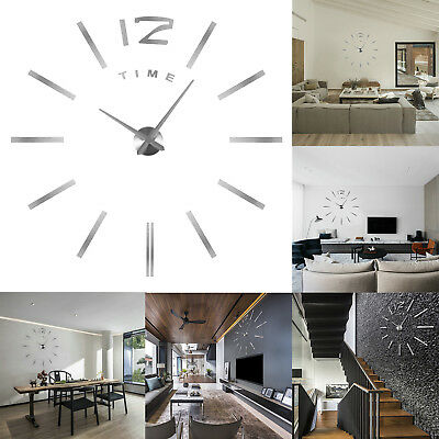 design wand uhr wohnzimmer wanduhr spiegel edelstahl wandtattoo deko de by eur 13 99 picclick de. Black Bedroom Furniture Sets. Home Design Ideas