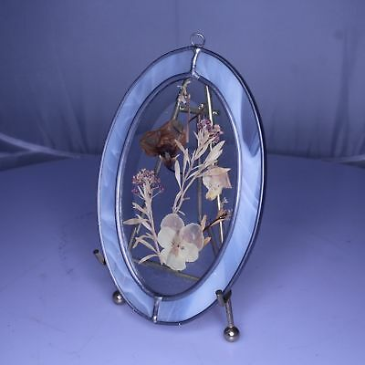 "e25 VTG Stained Glass ""Pressed Flowers & Butterfly"" Window Suncatcher Hanging"