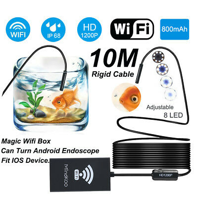1200P HD Endoscope Wifi Inspection Cam 8LED IP68 Rigid Scope for Samsung iphone