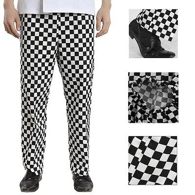 CHEF PANTS TROUSERS White Black Kitchen Catering Cook Work Restaurant Uniform US